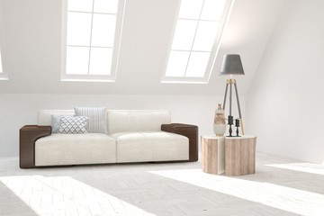White room with sofa and lamp. Scandinavian interior design