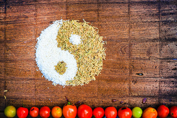 Asian food on the wood background thailand kitchen food. Cooking original eastern top view, wood background texture , paddy and rice Yin Yang. art image rice thailand.china,