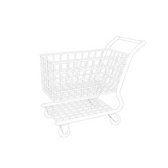 Empty shopping cart. Isolated on white background. Sketch illust