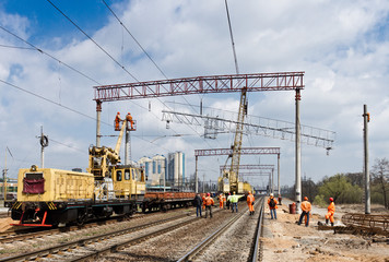 Railway construction in Kiev, Ukraine