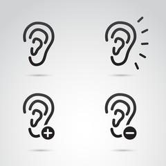 Ear vector icon set.
