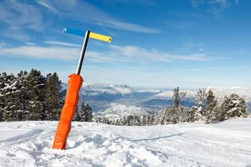Panneau direction piste de ski