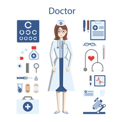 Isolated professional female doctor on white background. Doctor in whites with all the tools and equipment as stethoscope, medicine and more.