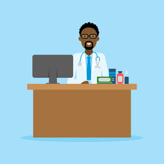 Doctor in the cabinet. Funny smiling african american male doctor sitting in the medical cabinet. Medical treatment, first aid.