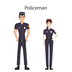Isolated professional police officers. male and female police officers in uniform standing on white background.