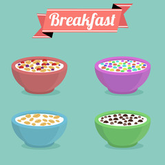 Healthy breakfast concept. Vector colorful illustration with three bowls of breakfast cereal in different flavors.