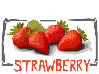 Vector simple illustration of strawberries.