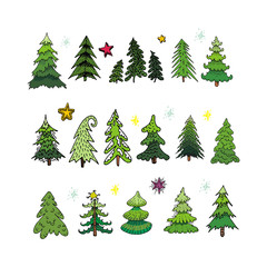 Set of different elegant christmas trees
