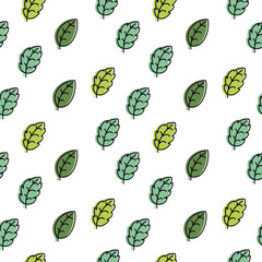 Seamless pattern with green leaves on a white background.