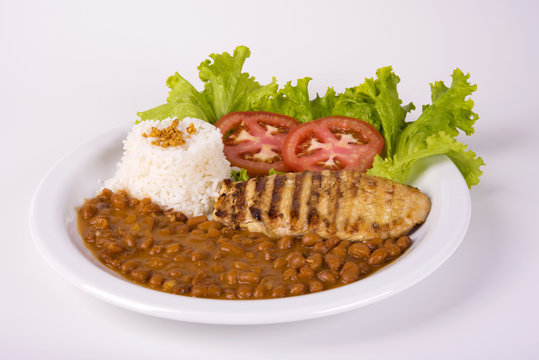 Chicken Breast Fillet with Brown Pinto Beans, Rice and Salad