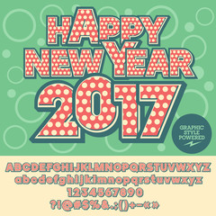 Vector stylish Happy New Year 2017 greeting card with set of letters, symbols and numbers. File contains graphic styles