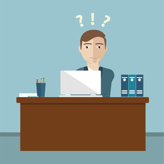 Businessman confused at the office vector format.