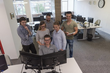 group of young startup business people standing as team