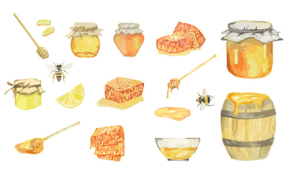 Watercolor honey set. Isolated items on white background. Bee, honey jar, barrel and more.