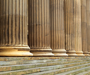 Sandsone columns on St Georges Hall Liverpool UK