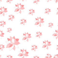 Vector decorative seamless pattern with light pink flowers