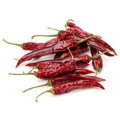 Dried red chili or chilli cayenne pepper isolated on white  back