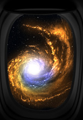 Window view of space with galaxy and stars.