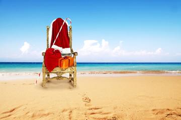 santa claus chair and beach