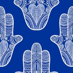 Hamsa, hand of Fatima, vector seamless pattern