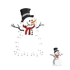Numbers game for children. Dot to dot education game. Snowman in