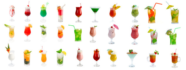 collection Alcoholic cocktails, isolated on white