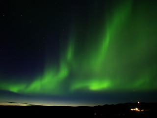 Northern lights in Reykjahlid in the Lake Myvatn area in northern Iceland
