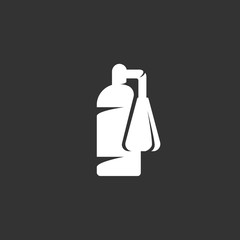 Fire extinguisher logo on black background. Vector icon
