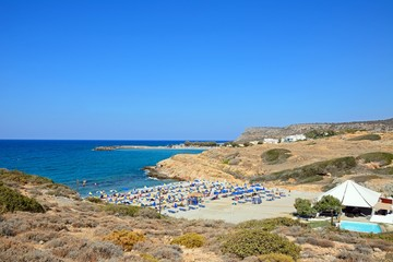 Elevated view of Boufos beach and the coastline, Sissi, Crete.