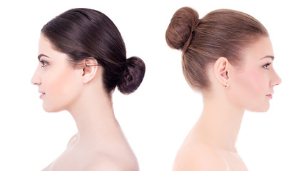 make up and skin care concept - side view of beautiful women wit