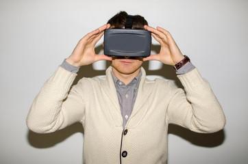 Man in virtual glasses