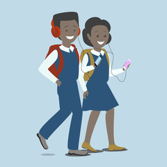 Girl and boy with the phone. Children with gadgets.Education and technology. Vector flat