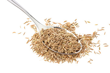 Caraway in spoon isolated on white background