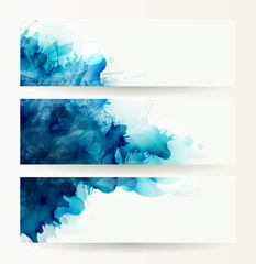 Fototapete - set of three banners, abstract headers with blue deliquescent blots