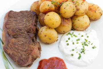 Rumpsteak mit Kartoffeln