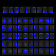 Blue digital square led font display with sample panel