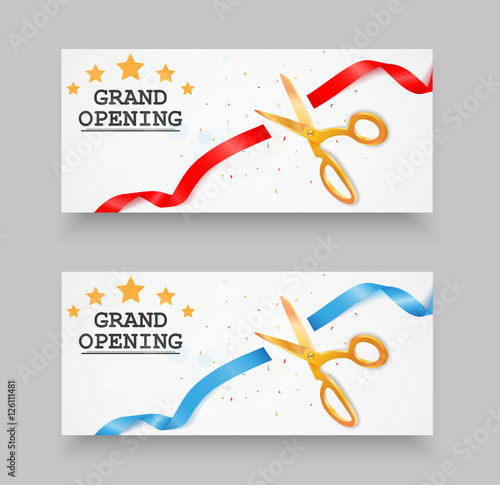 u0026quot grand opening banner with confetti and fireworks u0026quot  stock image and royalty