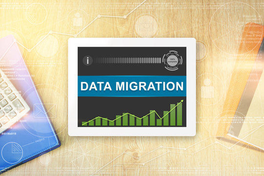 data migration word on tablet