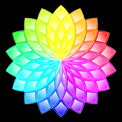 Vector Illustration - Colorful Round Ornament Pattern on a Black Background. Rainbow Flower. Color Spectrum.
