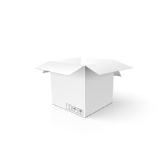 White 3D box. Clean opened carton package. Mockup template for y