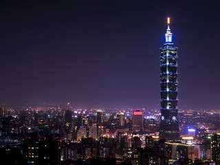 Cityscape nightlife view of Taipei. Taiwan city skyline at twilight time, public scene from view point at Elephant Mountain Hiking Trail in purple tone