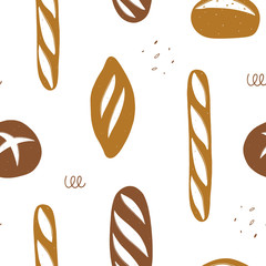 Seamless bread pattern. Repeated hand drawn background for bakeries