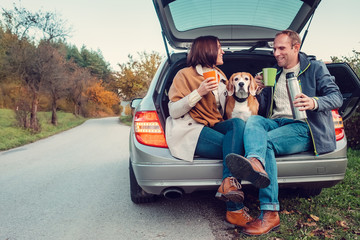 Tea party in car truck - loving couple with dog sits in car truc