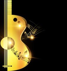 background light golden guitar