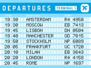 Departures vector - airport timetable sign