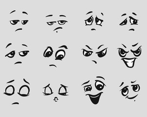 Twelf Angry Cartoon Expressions Faces