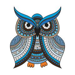 Vector zentangle owl illustration. Ornate patterned bird