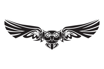 Owl Bird Logo in black on a white background. Vector illustration
