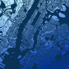 New York City Manhattan Two Tone Map