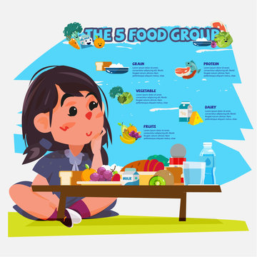 cute little girl enjoy five food group. character design - vecto